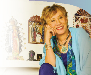 Juana Bordas at The Museo de Las Americas in Denver during an exibition of Guadalupe art. Juana is the author of The Power of Latino Leadership that recognizes Our Lady of Guadalupe as a healing force for our hemisphere.
