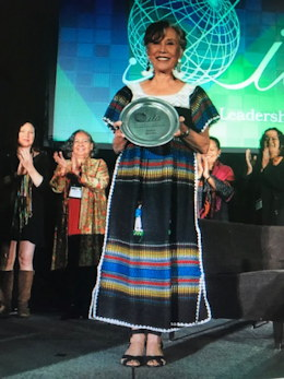 Juana received The International Leadership Association's Lifetime Achievement Award in Ottowa, Canada on Oct. 26, 2019